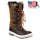 boots cooking gifts - Chic Gift Women's Lace Up Waterproof Quilted Mid Calf Weather Snow Boots Tan