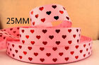 25MM,PRINTED GROSGRAIN RIBBON,FOIL PRINT HEARTS,CAKES,GIFTS,HAIR BOWS,VALENTINES