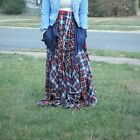 TOV - Damsel in Distress Red and Blue Plaid Maxi Skirt