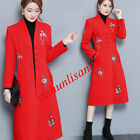 Womens Wool Blend Overcoat Single Breasted Slim Fit Red Rivet Embroidered Coat