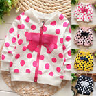 Baby Girl Fashion Clothing Cute Bow Dots Infant 100% Cotton Cardigan Kids Jacket for sale  Shipping to Canada
