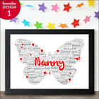 Personalised Butterfly Word Art Gifts for Nan Nanny Granny Mothers Day Birthday