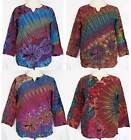 MEN Tie Dye Long Sleeve Cotton TOP Pullover Shirt Gypsy BOHO Hippie Size L Large