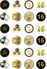 24 x PRECUT 16TH BIRTHDAY GOLD/16 YEAR OLD RICE/WAFER PAPER CUP CAKE TOPPERS
