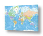 Political Modern Maps #1 by World Map | Ready to hang canvas | Wall art HD