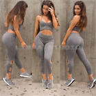 Women's 2Pcs Casual Sport Crop Tops Sweatshirt Track Pants Sweat Suits Tracksuit