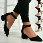 New Womens Ankle Strap Pumps Ladies Low Mid Block Heel Pointed Shoes Sizes Uk
