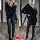 Sexy Women Top Loose Solid Long Sleeve Blouse V-Neck Irregular Fashion T-shirt G