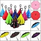 Modern Colorful Upside Down Reverse Umbrella C-Handle Double Layer Inside-Out