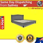 Stylish Bed frame with padded Headboard Grey Linen Fabric Double Queen King