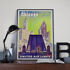 Chicago USA United Airlines Vintage Travel Poster Print Picture A3 A4