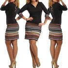 Ladies Women Long Sleeve Striped Stretch Bodycon Bandage Midi Shirt Jumper Dress