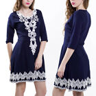 HOT Womens Ladies A-line Gown Dress V-Neck Lace Short Sleeve Party Evening Dress