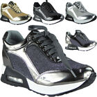 Ladies Flatform Platform Trainers Womens Wedge Flat Sneakers Lace Up Shoes Size
