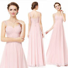 US Pink Long Chiffon Sleeveless Bridesmaid Wedding Party Dresses Prom Gown 08863