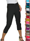 ICE Womens High Waist Skinny Stretch Pedal Pushers Cropped Trousers 8-22
