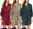 Women 3/4 Sleeve Pullover Polo Neck Loose Shirt Mini Dress With Belt
