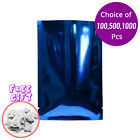 Blue Silver Foil Mylar Open Top Pouch Bag 1.5x2.25in w/ Silica Gel Desiccant B01