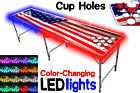 8-Foot Beer Pong Table w/ OPTIONAL Cup Holes & LED Glow Lights - America