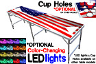 beer pong merchandise - 8-Foot Beer Pong Table w/ OPTIONAL Cup Holes & LED Glow Lights - America