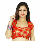 Red Weaving Ready-Made Crop- Top Wedding Wear Designer Indian Stitched Blouse