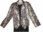 PLUS SIZE BLACK AND WHITE SNAKE PRINT WATERFALL FRONT CROPPED SHORT JACKET