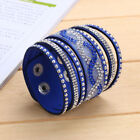 Beauty Punk Style Multilayer Women Crystal Leather Cuff Bangle Jrewelry Bracelet