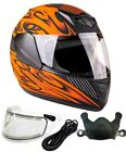 Youth Kids Snowmobile Helmet Matte Orange DOT Child Small Medium Large XL