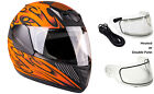 Youth Kids Snowmobile Helmet Orange Snow DOT Full Face Child