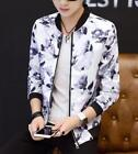 M-5XL Mens Casual Slim Fit Coats Printed Floral Stand Collar Outwear Jacket Hot