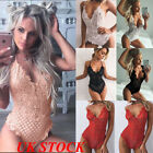 UK Strappy Plunge V Neck Full Lace Cross Bodycon Bodysuit Women Top New