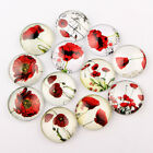 10 x Glass Poppy Cabochon,Necklace,Earrings,Jewellery Making,Scrapbooking,Craft