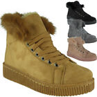 Womens Ankle Boots Faux Fur Lining New Sneakers Lace Up Flat Trainers Shoes Size