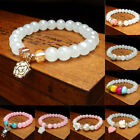 Beauty Women Candy Color Round Crystal Bracelet Faux Pearl Beads Bangle