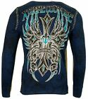Xtreme Couture by AFFLICTION Men THERMAL T-Shirt BRONZE ARMS CROSS Biker Gym $58 image