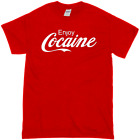 NEW ENJOY COCAINE ADULT NOVELTY HUMOR FUNNY IRONIC JOKE PARTY LOGO COKE SHIRT $11.99  on eBay