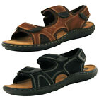 Double Strap Leather Beach Sandals  Mens Size
