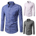 Casual Mens Striped Slim Fit Shirts Long Sleeve Party Business Dress Shirts