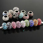 Crystal Silver Plated Classic Charms Loose Spacer Beads Fits European Bracelets