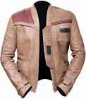 Mens Star Wars The Force Awakens John Boyega Finn Mens Beige Real Leather Jacket £89.0 GBP