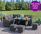 Rattan Garden Furniture Corner Set Dining Table Mix Grey 9 10 Seater FREE COVER