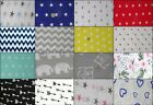"Grey/White ELEPHANT 100% Cotton Fabric Material By Metre 63"" Wide+more colours"