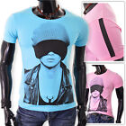 Mens Sleeping goggles T-Shirt Slim Fit Fitness Stretchy Cotton Crew Neck UK size