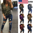 USA Women Camo Lace Up V-Neck Bandage Long sleeve Casual Blouse Tops  T-Shirts
