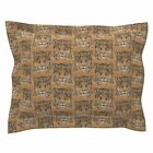 Wood Jaguar Cat Wild Cat Etching Zoo Wildcat Pillow Sham by Roostery