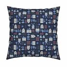 Dutch Boat House Tree Windmill Throw Pillow Cover w Optional Insert by Roostery