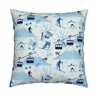 Mountains Ski Skiing Ski Lifts Throw Pillow Cover w Optional Insert by Roostery