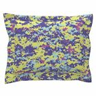 Digital Camo Pink Purple Blue Pillow Sham by Roostery