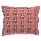 Valentine Beagle Dog Heart Paws Pink Red Pillow Sham by Roostery