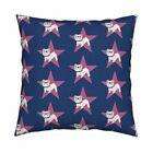 Bulldog White Star Blue Pink Throw Pillow Cover w Optional Insert by Roostery